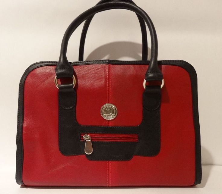NWT THE COLOMBIAN TECHNIQUE Handmade Luxury 100% Leather Satchel Bag Red & Black #TheColombianTechnique #Satchel
