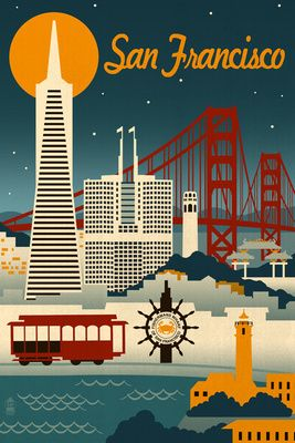 San Francisco, California - Retro Skyline - Lantern Press Poster