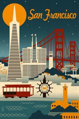 San Francisco, California - Retro Skyline - Lantern Press Poster