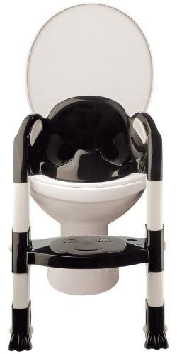 Toilettentrainer Kiddyloo, stylish in schwarz/weiß    Das besondere am Kiddyloo sind seine stufenlos höhenverstellbaren Füße. Damit lässt er sich an fast jeder herkömmlichen Toilette befestigen.    Für angenehmen Komfort sorgt der anatomisch geformte WC-Sitz mit seiner hohen Rückenlehne und der mattierten Sitzfläche, die das Festkleben des Kinderpopos verhindert... (Klick für mehr Infos!)