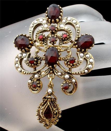 Signed Art Rose Cut Red Garnet Rhinestone Pearl Estate Dangle Brooch Vintage |  Garnet = January Birthstone