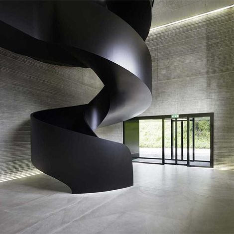Dark sculptural: Spirals Stairca, Spirals Stairs, Black Stairca, Interiors Design, Canton Basel Landschaft, Offices Canton, Public Records, Black Helic, Records Offices
