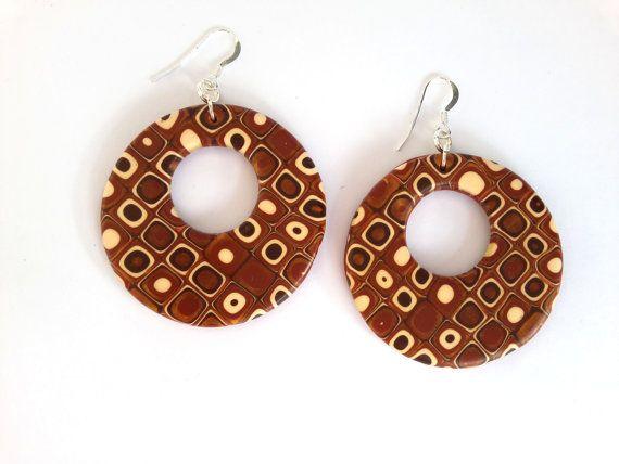 Hoop Earrings Polymer Clay Earrings Circle Abstract by MACRANI