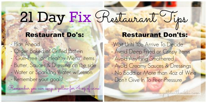 21 Day Fix Restaurant Tips