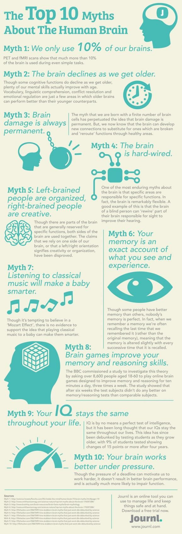Simple Graphic of the Top Ten Myths Regarding the Human Brain.