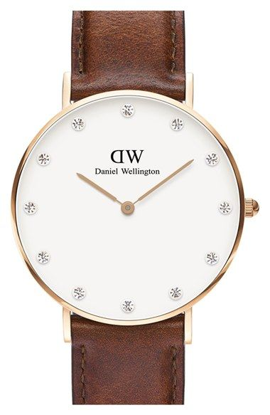 Daniel Wellington 'Classy St. Mawes' Crystal Index Leather Strap Watch, 34mm available at #Nordstrom