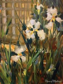 Butterfly Iris Garden by Texas Flower Artist Nancy Medina, painting by artist Nancy Medina