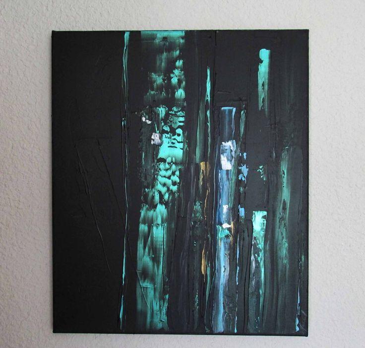 peinture moderne acrylique noir bleu vert iris or blanc sur ch ssis toile coton 46 x 54 cm toile. Black Bedroom Furniture Sets. Home Design Ideas