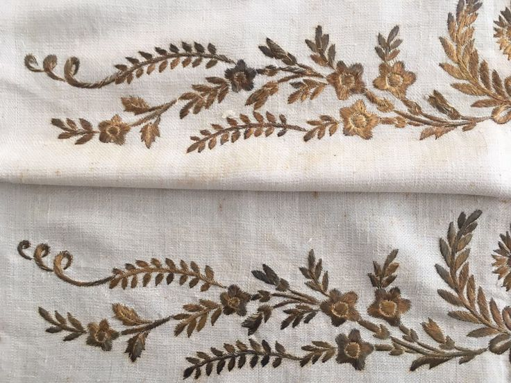 19th C RARE MOTIF ANTIQUE OTTOMAN-TURKISH GOLD METALLIC HAND EMBROIDERED TOWEL