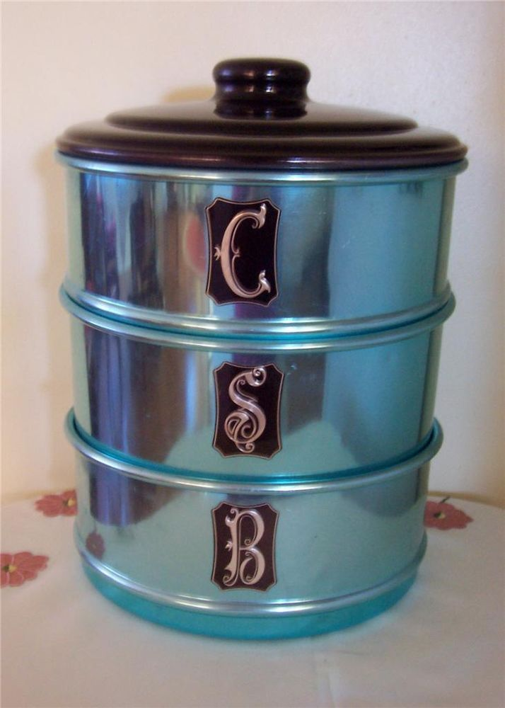 VINTAGE RETRO SET OF 3 DUCHESS BLUE ANODISED KITCHEN CANISTERS 50 S 60 S