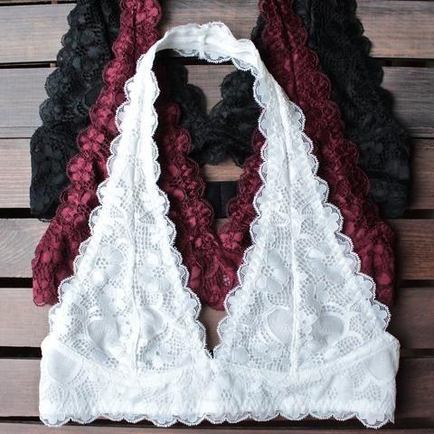 Halter Lace Bralette - Multiple Colors - Anchored Hope Boutique  - 1