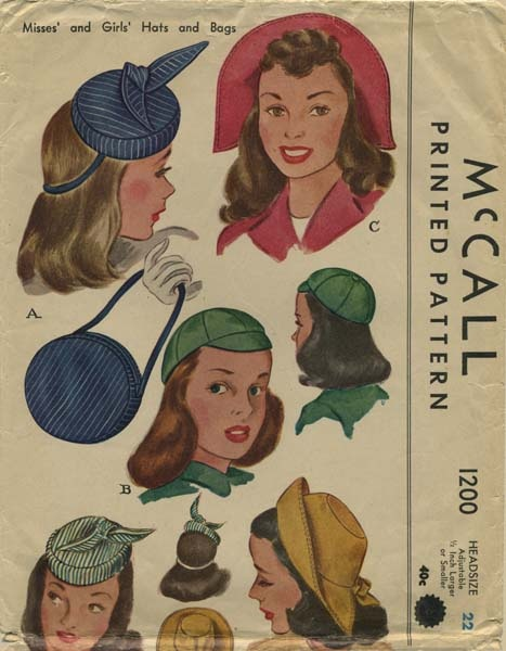 Vintage Hat Sewing Pattern | McCall 1200 | Year 1945 | Head Size 22