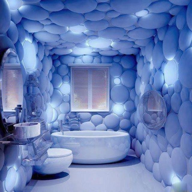 Odd Creative Bubble Bathroom Home Decor Design Blue Bathtub Toilet Sink