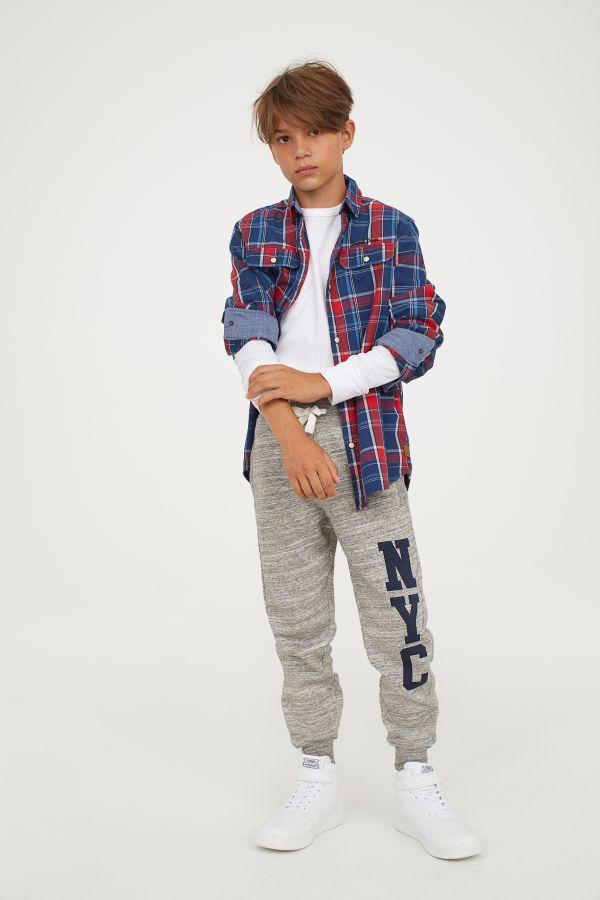 Pantalon De Chandal Gris Jaspeado Nyc Ninos H M Mx Pantalones Para Ninos Ropa Para Ninos Varones Moda De Verano Para Ninos