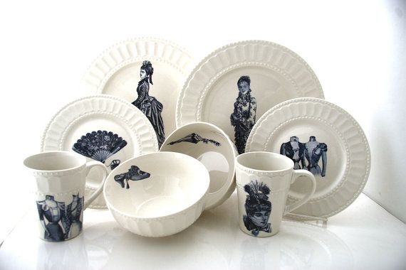 Aren't these wonderful???!!  Victorian fashions on antique dishware - ingenious! Penny Dreadful dinnerware set six place settings 24 by LennyMud, $300.00