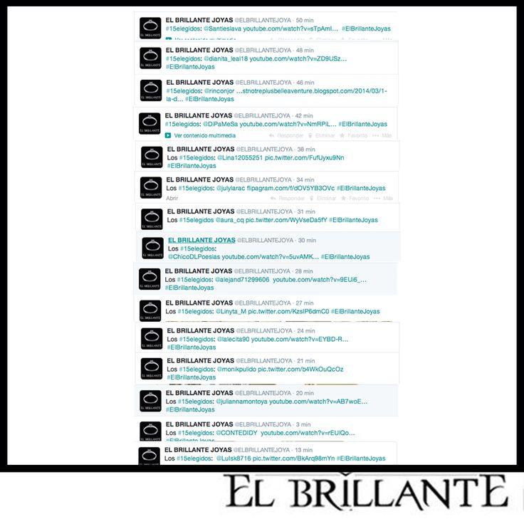 Recuerda retwittear la historia que más te guste a través de nuestra cuenta de Twitter: @ElBrillanteJoya Los #15elegidos #ElBrillanteJoyas