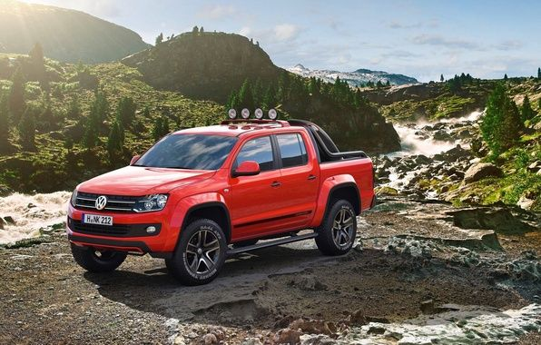 author: shtumf / size: 3600x2320 / tags: mountains, drives, Canyon, Volkswagen, tuning, Amarok, show car, exotic painting, extra lights, stones