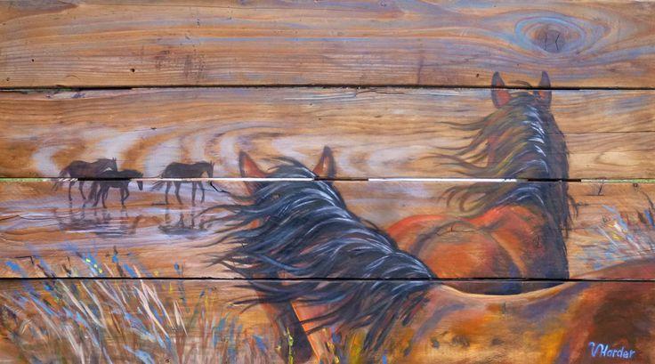 """22x42"""" Beach Horses acrylic painting on reclaimed barn board for sale 180.00"""