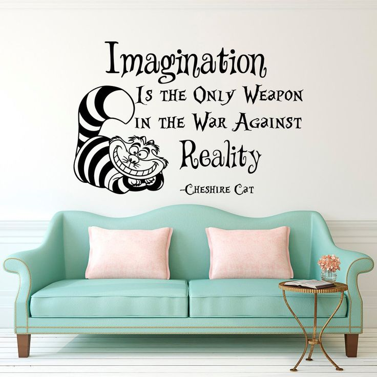 Latest Cheshire Cat Saying Imagination Is The Only Weapon Quotes Wallpaper Alice In Wonderland Mural Kids Room Decor Vinyl Decal D-311 2