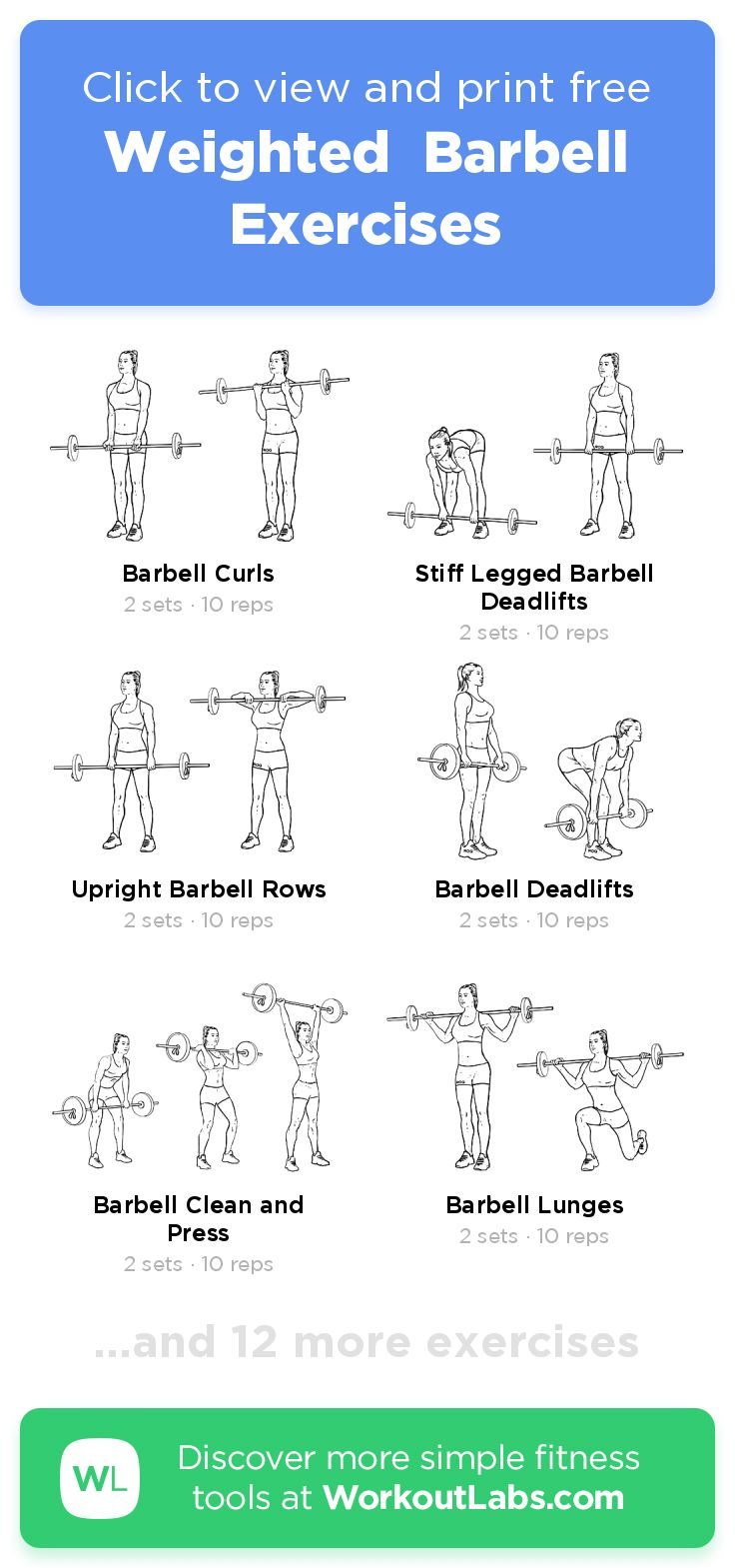 Weighted Barbell Exercises Workoutlabs Fit Barbell Workout Barbell Workout For Women Full Body Weight Workout