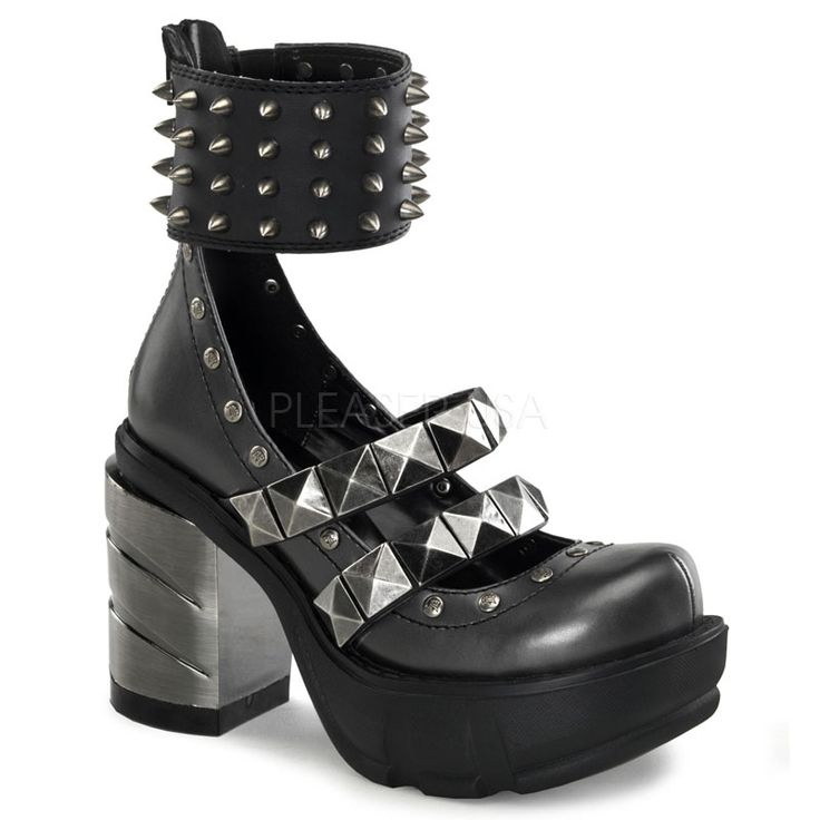 Black & Chrome Multi Strap Shoe With Spiked Ankle Strap, Victorian Shoes