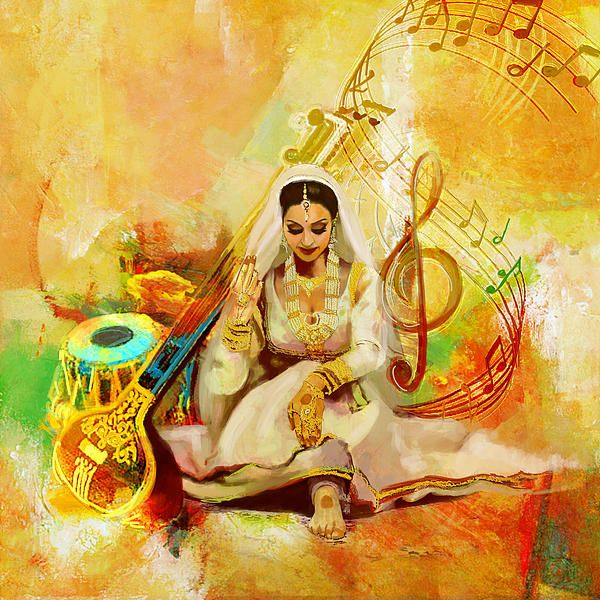 Lady with Indian music instruments