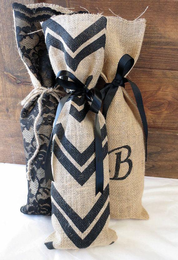 Chevron Burlap Gift Bag Wine Bag Wine Gift Bag by GrippingGlamour