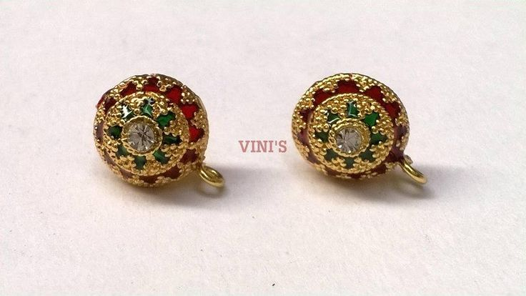 SH20 Gold meenakaari stud base with loop Stud size 12mm, With Rubber stopper Rs- 50/pair