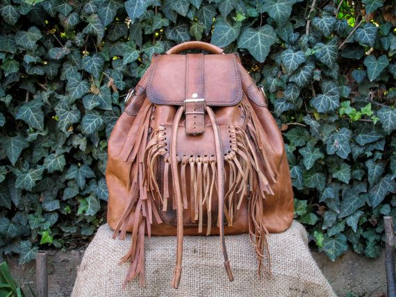 Hand Made Leather Boho Backpack / Handmade Brown Leather Satchel / Womens Leather Backpack #handmade #leatherbags #transylvanianmonk