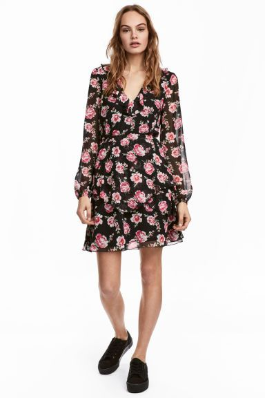 Chiffon dress with flounces - Black/Floral - Ladies | H&M GB 1