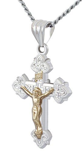 A brand new solid 0.925 sterling silver and 14k gold high polished crucifix cross pendant with your choice of a sterling silver 1.0mm 1.5mm 2.3mm 3.3mm rope chain a 1.5mm 2.2mm box chain a 2.0mm curb chain a 1.5mm bead chain or a 1.8mm 2.3mm figaro chain in either 18in 20in or 24in sizes. (Custom lengths are available upon request) All chains are made of solid 0.925 sterling silver with a coat of anti-tarnish rhodium plating applied to ensure the highest quality and the longest lasting…