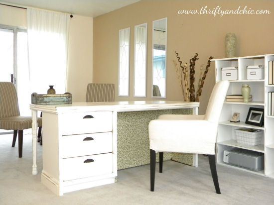 Repurposed dresser:  Dresser turned into a desk, from Thrifty and Chic blog.