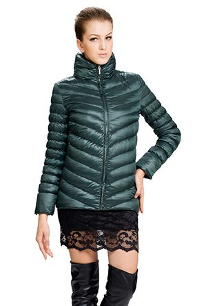 Kitty/dark green surface(90% goose filler)/short down coat