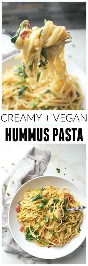 This One Pot Creamy Hummus Pasta takes 20 minutes (and yes, it's vegan) | http://ThisSavoryVegan.com