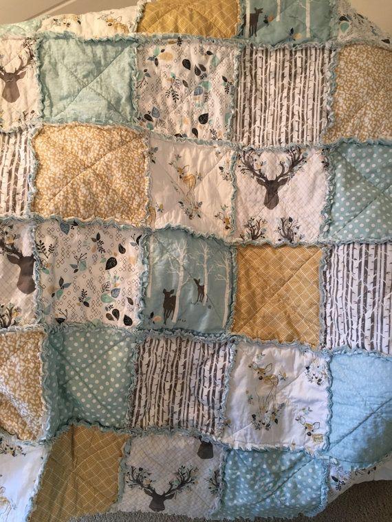 Crib Rag Quilt Gender Neutral Crib Bedding Woodland by justluved