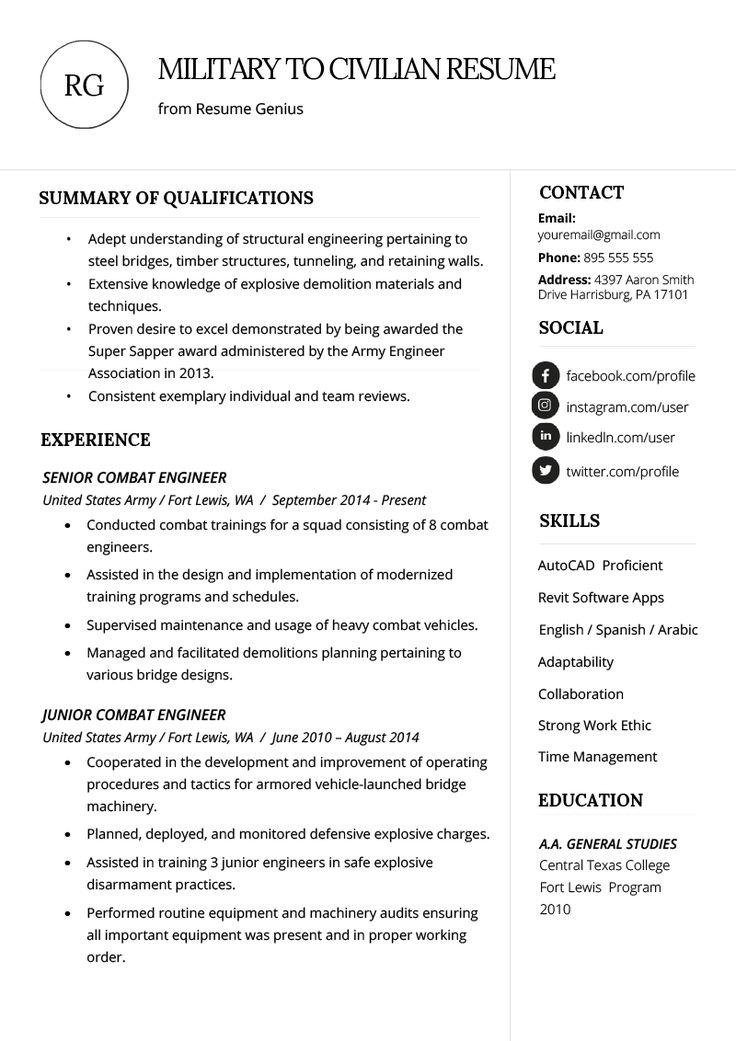 How to Write a Military to Civilian Resume Resume Genius