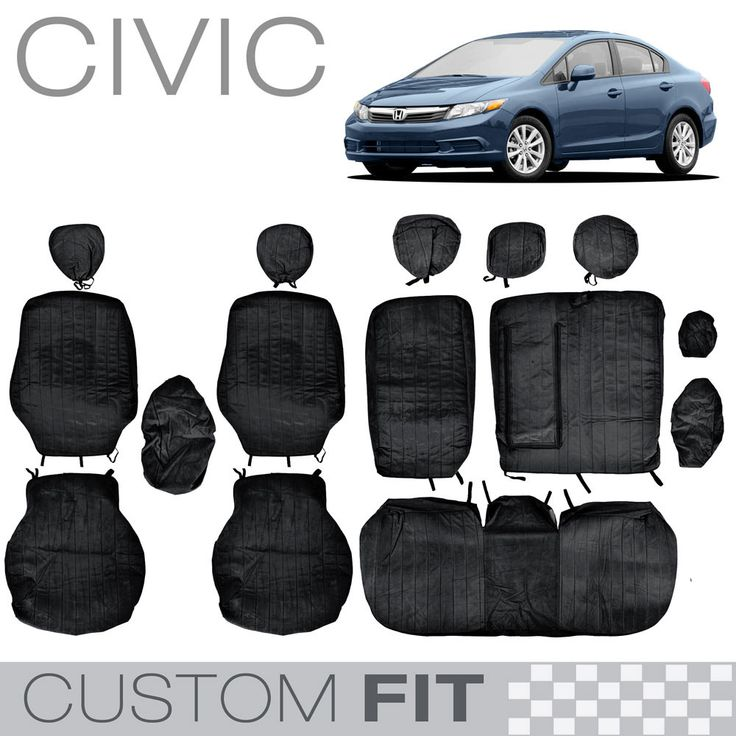 Custom Fit Seat Cover for Honda Civic 2012 to 2013 Velour Encore Black by BDK