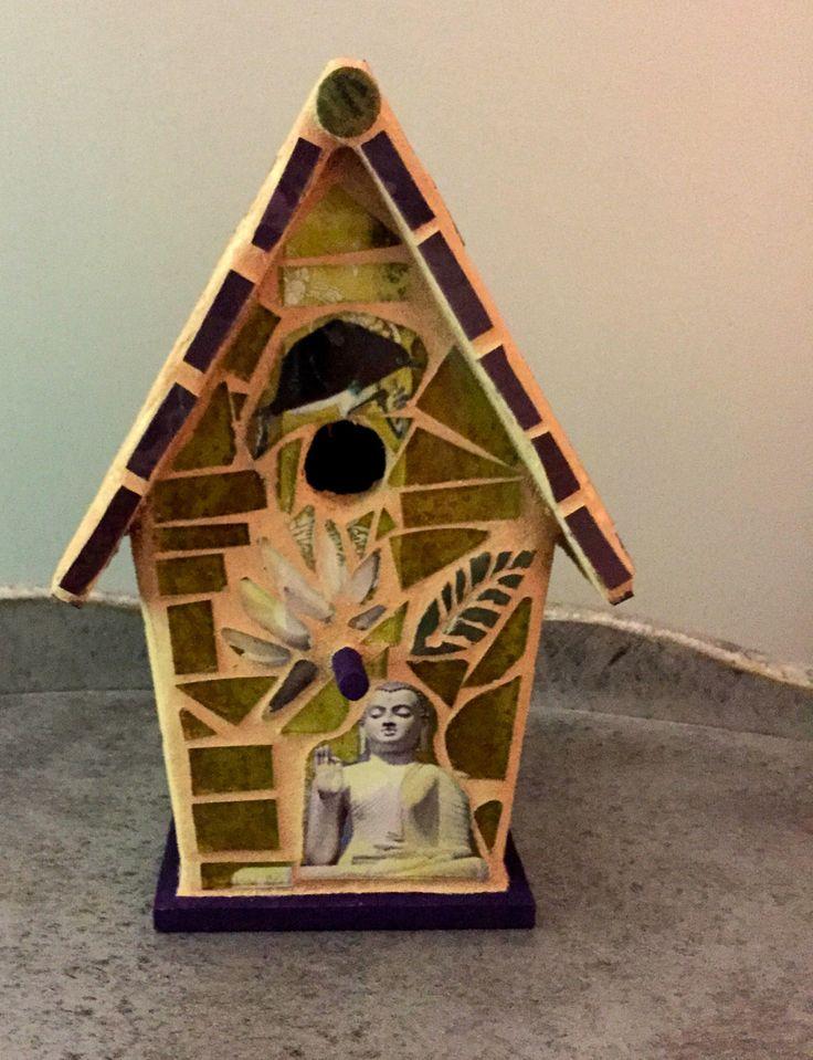 Asian birdhouse, mixed media birdhouse, glass mosaic birdhouse, decorative birdhouse, Buddah birdhouse, by JayKayBeecreations on Etsy