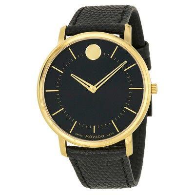 Movado Black Dial Black Leather Mens Watch