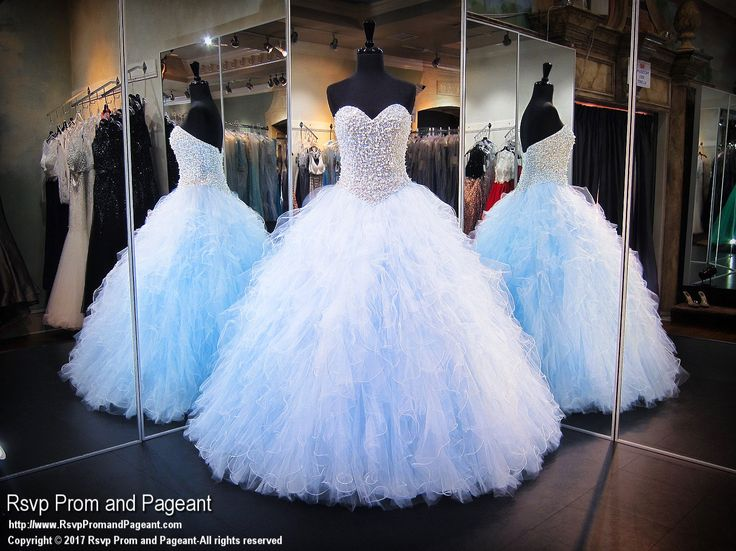 Be a new Cinderella in this light blue sweetheart ball gown that will drop jaws, and it's at Rsvp Prom and Pageant, your source of the HOTTEST Prom and Pageant Dresses!