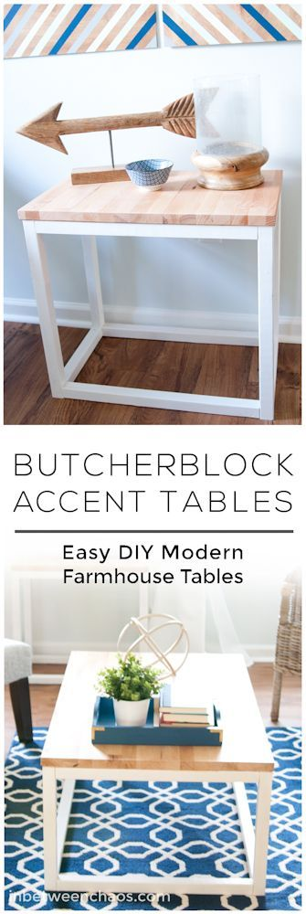 Free plans to DIY easy butcherblock accent tables for modern farmhouse charm