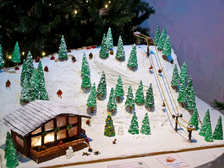 gingerbread house ski slope and chalet