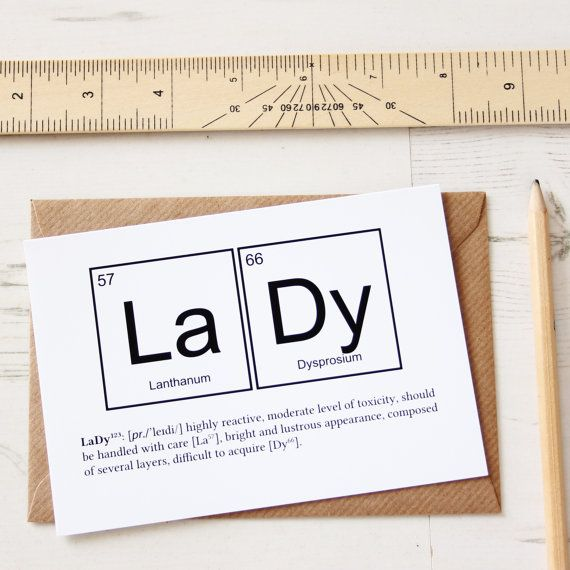 FUNNY LADY ELEMENTS Valentines Day Card Periodic Table Greeting Friend Birthday Anniversary Joke Breaking Bad For Her Monochrome Posh Kraft