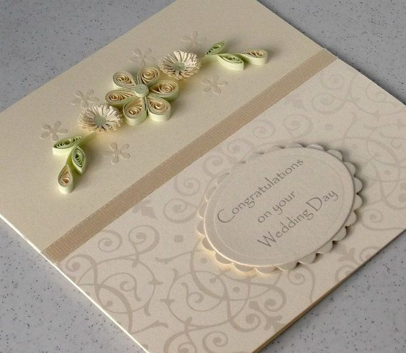 Quilled wedding congratulations card, paper quilling via Etsy