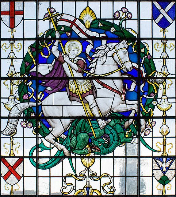 St. George and the Dragon stained glass window | Doors ...