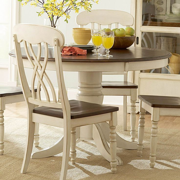 Cream wooden chairs for kitchen: Homelegance 1393 Ohana Round Dining Table