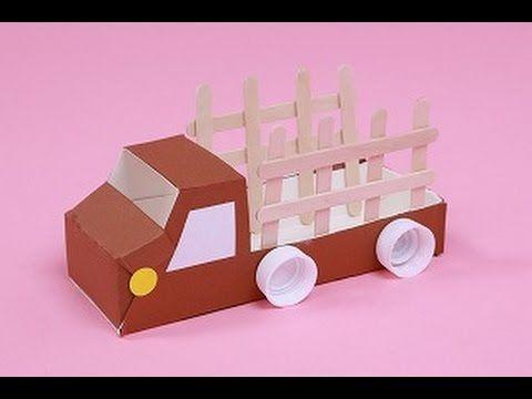 夏休みの自由研究 工作のアイデア 牛乳パックで作る車 空き箱の家 - YouTube