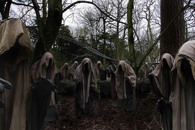 13 Thirteen wraiths by Alton Towers Resort---It is believed the wraiths are guardians of the dark forest. Their presence is shrouded in mystery. We are unsure whether they are evil or benevolent...