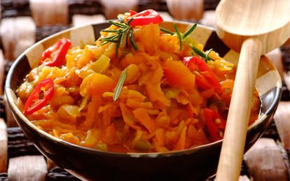 Chakalaka: A traditional South African spicy relish  served with braaied meat, bread, pap, samp and stews.