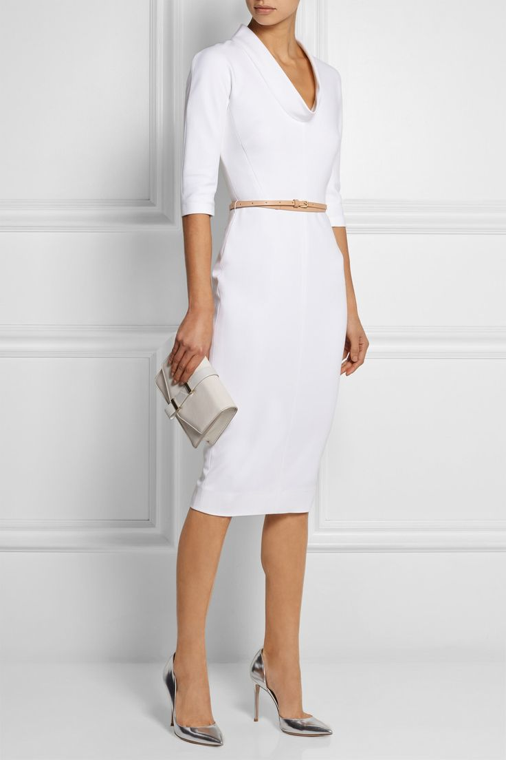 Victoria Beckham | Belted stretch cotton-blend dress | NET-A-PORTER.COM